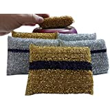 6 CLEANING NON-SCRATCH Best 2 In 1 Scrunge Scrub Sponges, Extra Scrubbing Dish Cleaner Pads, Made In Israel