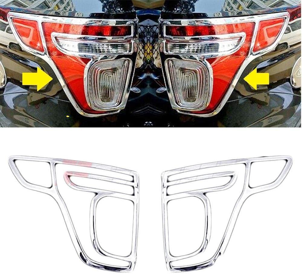 Overun Triple Chrome Plated 2pcs Tail Light Frame Trim No Glass//Plastic Cover Designed for 2011-2014 Explorer Only