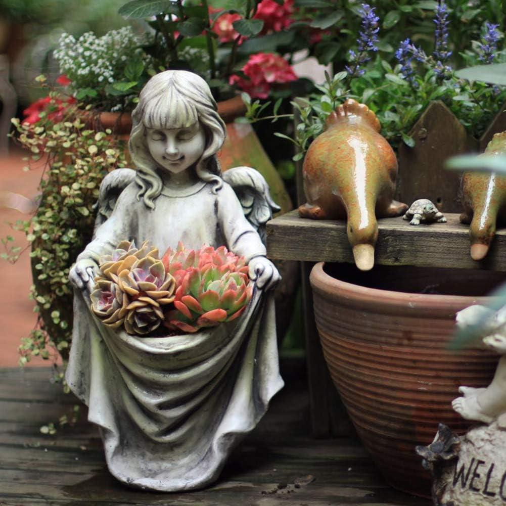 MIAO Cherub Girl Estatua Alimentador de pájaros Hada Jardín Jardinera Ángel con abundante Delantal Decoración de Resina Escultura de jardín para Patio Césped A 45x24x25cm (18x9x10inch)
