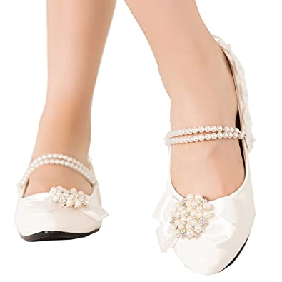 a7923b55b1b getmorebeauty Women s Mary Janes Flats Pearls Flower Dress Wedding Shoes 5  B(M) US
