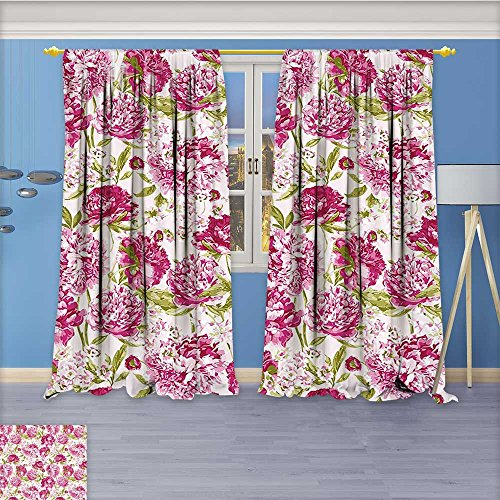 Nalahome Room Darkening Window Curtains, Theme Pink Peonies and Leaves Pink White Olive Green Back Tab, Set of Two Panels 96W x 108L ()