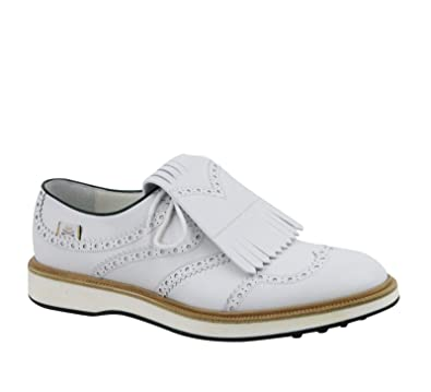 59100ebb786 Amazon.com  Gucci Brogue Fringed White Leather Oxford Golf Shoes 368438  9014  Shoes