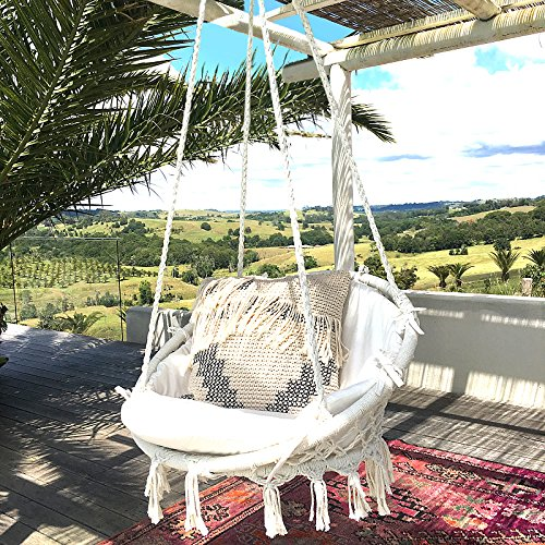Sonyabecca Hammock Chair Macrame Swing 265 Pound Capacity Handmade Knitted Hanging Swing Chair for Indoor/Outdoor Home Patio Deck Yard Garden Reading Leisure Lounging (Hanging Hammock Chair Lounge)