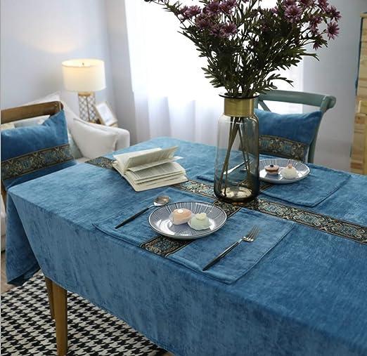 TYTLYA Mantel Decoracion Antimanchas Lavable Azul Polar Bordado ...