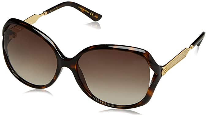 733439a23d Amazon.com  Gucci Women s Oval Sunglasses - Havana Brown  Clothing