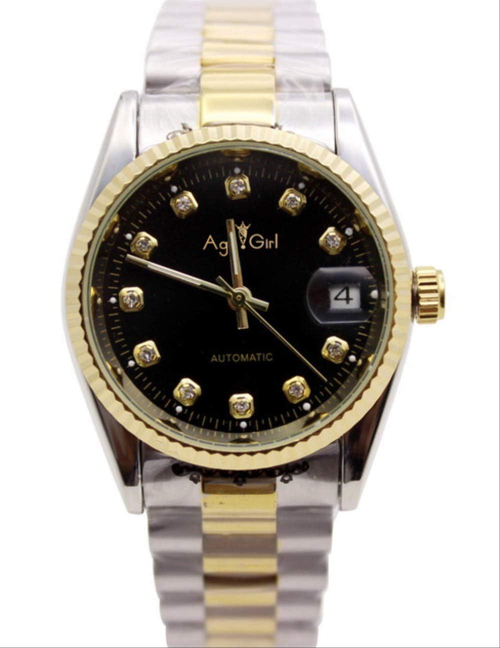AHELUSB Reloj para Hombre Cristal de Zafiro Plateado Dorado Negro Reloj mecánico automático de Acero Inoxidable 36 mmPlateado Dorado Negro