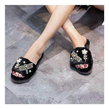 DAMENGXIANG Las Mujeres Zapato Abierto Zapatillas Linda Decoración Libélula Otoño Invierno Mullidas Zapatillas De Felpa Piel