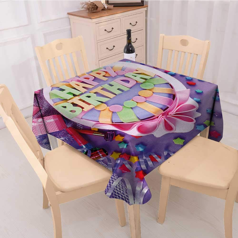 Amazon Birthday Table Cover Delicious Cake On A With Stars And Presents Party Yummy Dessert Dinning Covers Multicolor W 60 X L