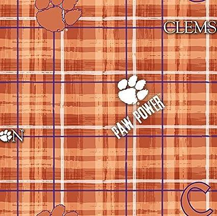 8ff37d89b89 Image Unavailable. Image not available for. Color: Clemson Tigers Plaid  Cotton Fabric, Orange ...