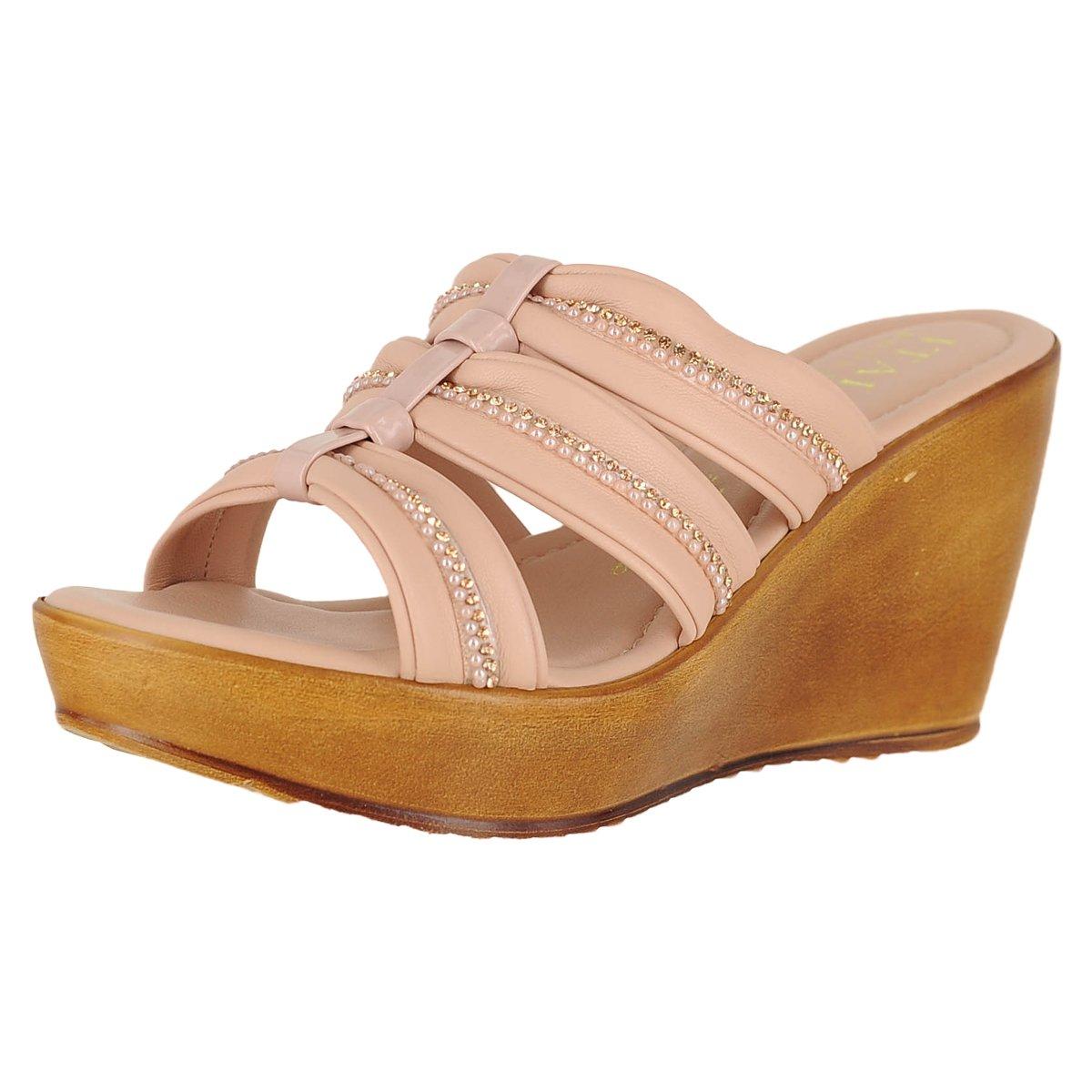 ITALIAN Shoemakers Women's Wedge Sandals - 5516S8 B07BDQSKMQ 10 B(M) US Powder