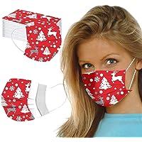 Tyijunx Mondkapjes voor eenmalig gebruik, 3-laags, ademend, stofbescherming, print, mondbedekking met kerstmotief, voor…