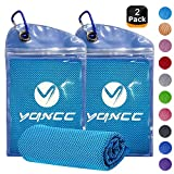 YQXCC 2 Pack Cooling Towel (120 x 30 cm), Ice Towel, Microfiber Towel For Instant Cooling Relief, Cool Cold Towel for Yoga Beach Golf Travel Gym Sports Swimming Camping (Blue)
