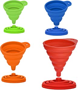 4 Pack Kitchen Funnel, Silicone Collapsible Funnel, 4 Different Sizes Kitchen Funnel, Funnels for Filling Bottles, Food Grade Silicone Collapsible Funnel for Transferring Liquids