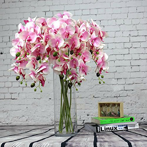 (YYF 10pcs Artificial Flowers Silk Phalaenopsis Orchid Stem Bouquets Fake Flowers for Wedding Party Home Garden Decor Pink)