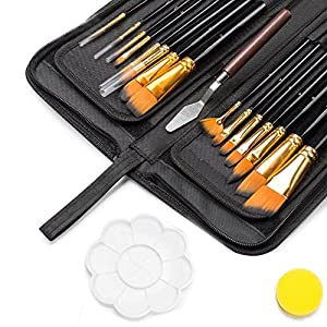 Paint Brush Set, 18 Pack Shuttle Art Different Brush Shapes & Sizes Bonus Painting Knife & Watercolor Sponge No Shed Bristles Wood Handles For Artist Body Paint, Acrylics, Oil