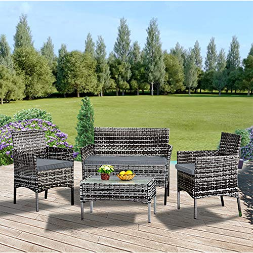 Luckycloud 4 Pieces Patio Furniture Set Rattan Wicker Garden Sofa Chair Set with Glass Table Lawn Conversation Outdoor Mixed Grey Wicker with Grey Cushions