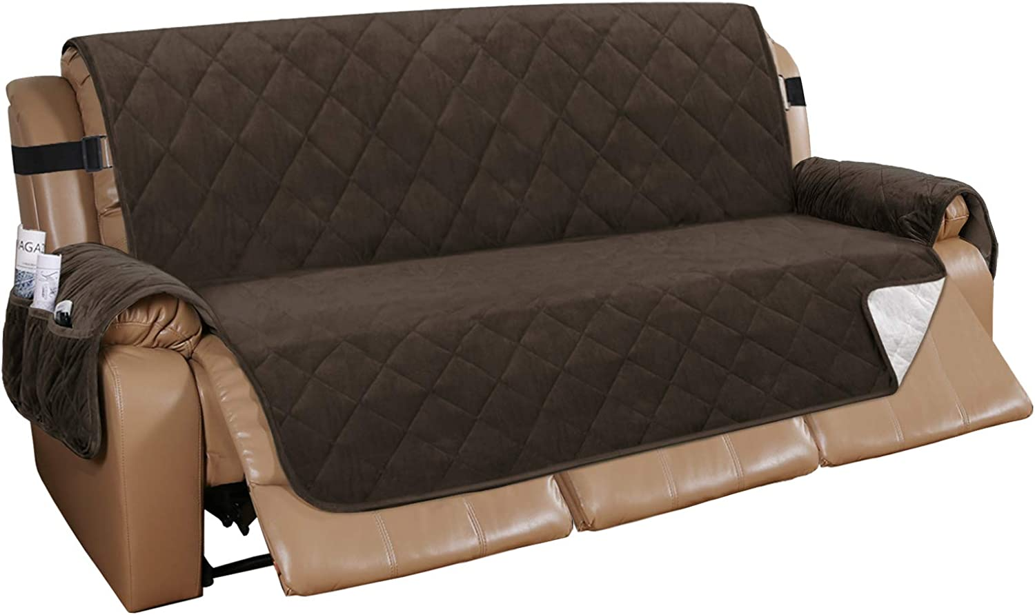 Recliner Sofa Cover Velvet Recliner Sofa Slipcover Couch Covers for 3 Cushion Couch Quilted Recliner Cover Slip Resistant Sofa Furniture Cover with Straps Seat Width Up to 70
