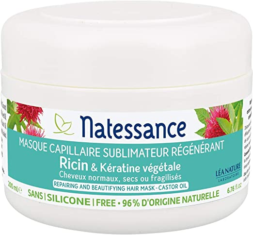 Natessance Capillaire Masque À Lhuile de Ricin et Kératine Végétale 200 ml