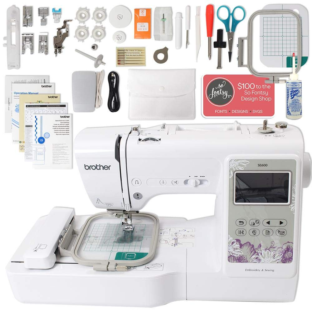 Brother SE600 Computerized Sewing and Embroidery Machine Bundle with 4'' x 4'' Embroidery Area by Brother Emboridery