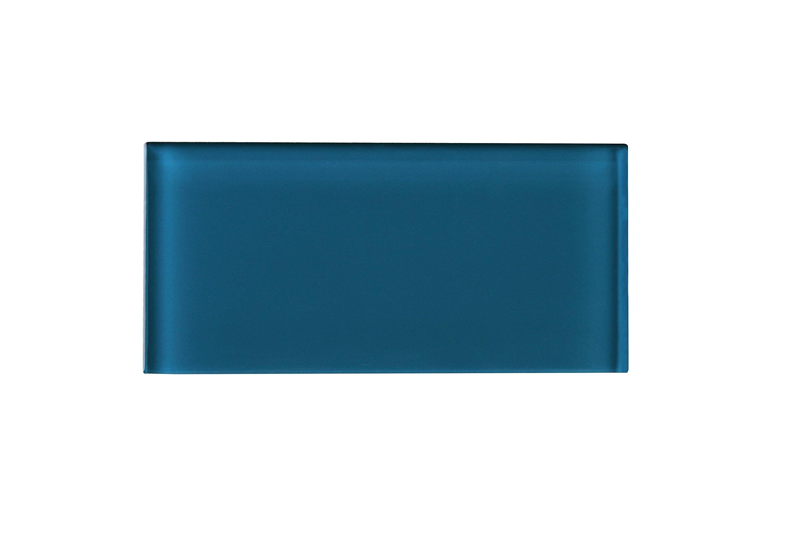 Tile Generation TCSAG-15 Turquoise Blue 3x6 Glass Subway Tile -Kitchen and Bath Backsplash Wall Tile (8pcs)