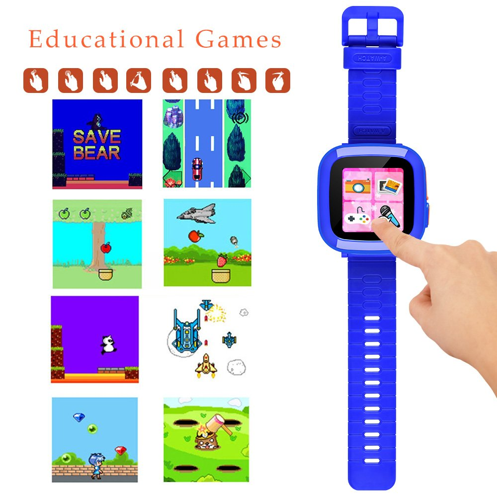 MIMLI Smart Watch for Kids Girls Boys,Smart Game Watch with Camera Touch Screen Pedometer,Kids Smart Watch Perfect Holiday Birthday Toys Gifts (Dark Blue) by MIMLI (Image #2)