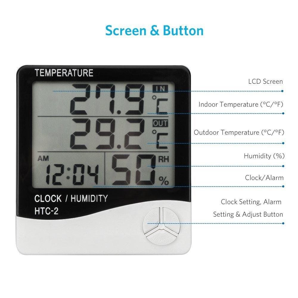 Digitale indoor outdoor termometro igrometro hite home 1.5/m sonda cavo per camera da letto office temperatura e umidit/à monitor con schermo LCD sveglia