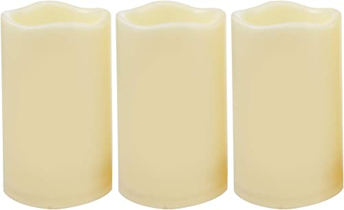 3 Waterproof Outdoor Battery Operated Flameless LED Pillar Candle with Timer Flickering Plastic Resin Electric Decorative Light for Lantern Patio Garden Home Decor Party Wedding Decorations 3×5 Inches