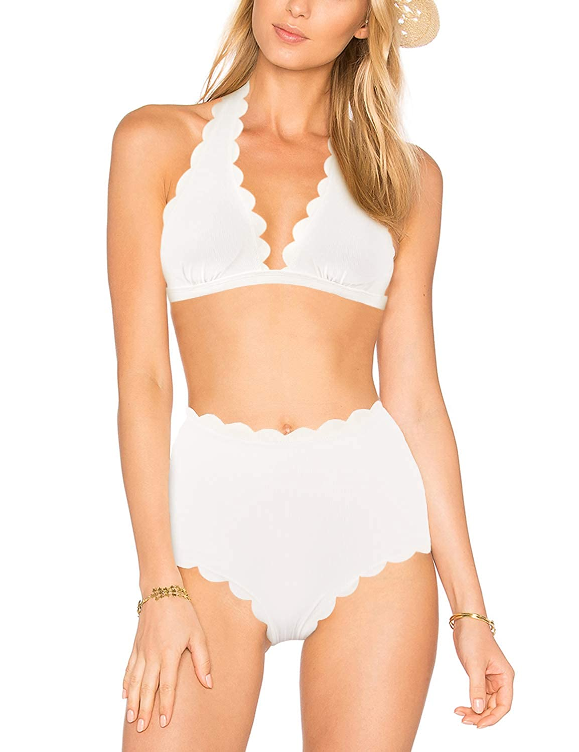 White Blooming Jelly Women's High Waisted Swimsuit Halter Two Piece Bathing Suit Scalloped Bikini Set