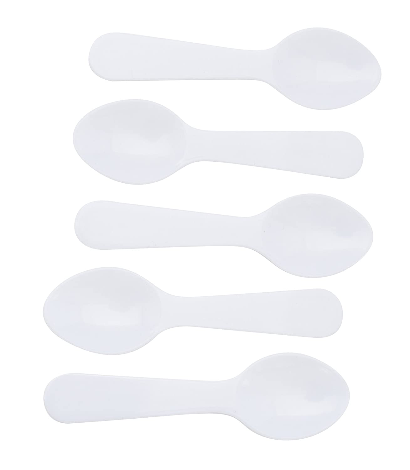 "3"" Miniature Plastic White Taster Spoons - 250 Count"
