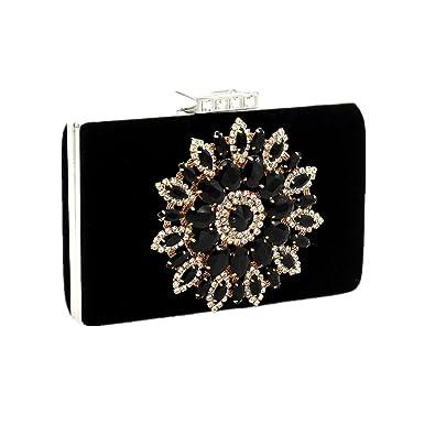 2e2f6fe7d6 Shiratori Series-Glitter Rhinestone Floral Evening Bag Party Handbags  Wedding Clutches Purse,Black
