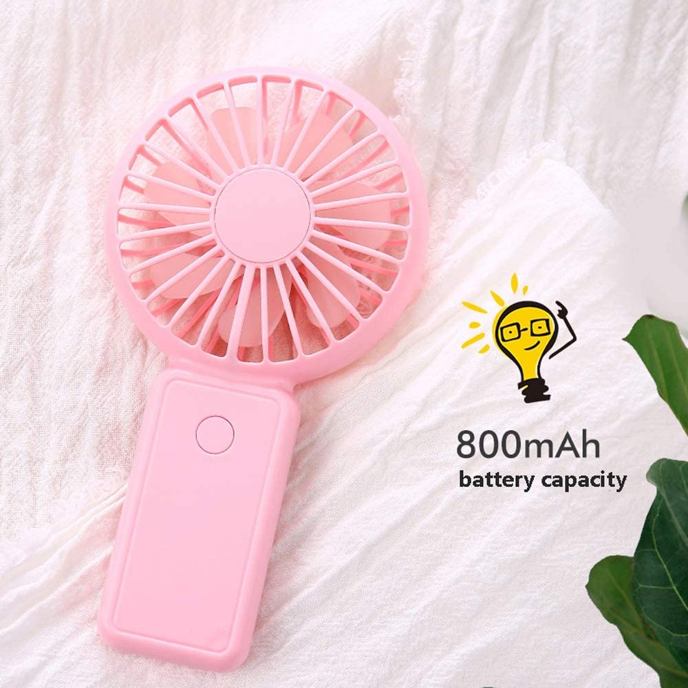 Mini Personal Portable Rechargeable USB Powered 3 Speed Cooling for Outdoor Home Office Travel for Home Office Table USB Table Desk Personal Fan Handheld Fan Color : Pink, Size : One Size