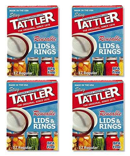 Tattler Reusable Canning Jar Lids & Rubber Rings - 4 Packs - Total of 48 each Reusable Rubber Gasket Rings and Lids for REGULAR Mouth Canning Jars