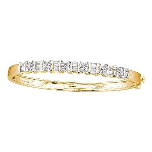 2.00ctw Round & Baguette Cut Diamond Bangle Bracelet