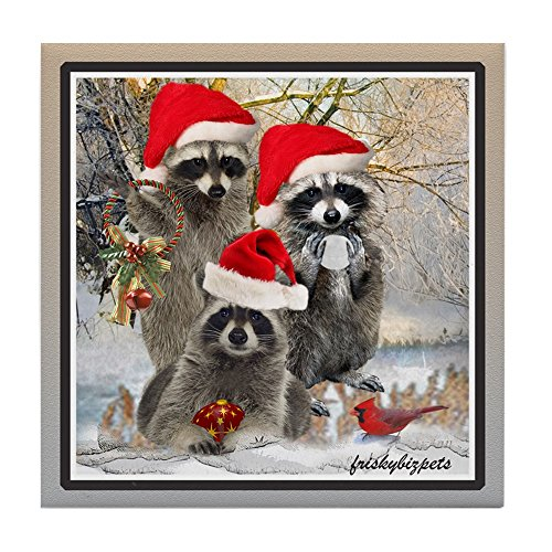 CafePress - Raccoon Trio A Winter Day - Tile Coaster, Drink Coaster, Small Trivet (Raccoon Trio)