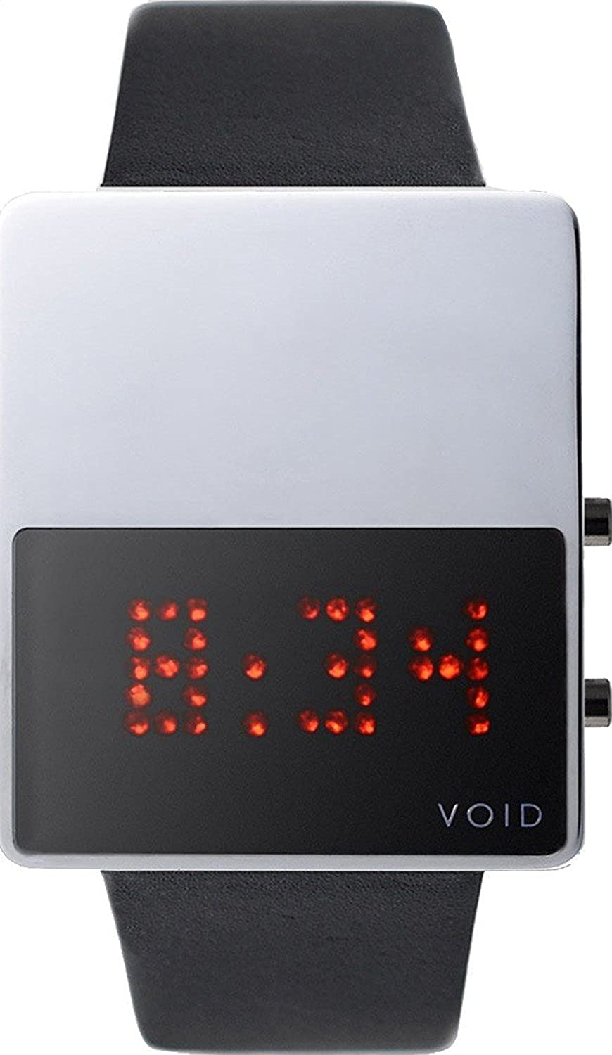 Void V01LED-PO-BL Unisex Stailess Schwarz Lederband Schwarz Dial Digital Watch