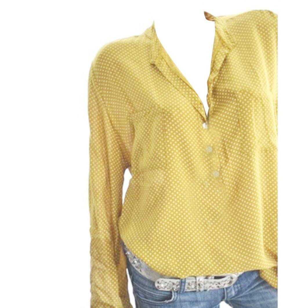 Women Plus Size Dots Henley Shirt V-Neck Roll-up Long Sleeve Top Loose Blouse(Yellow,Small)