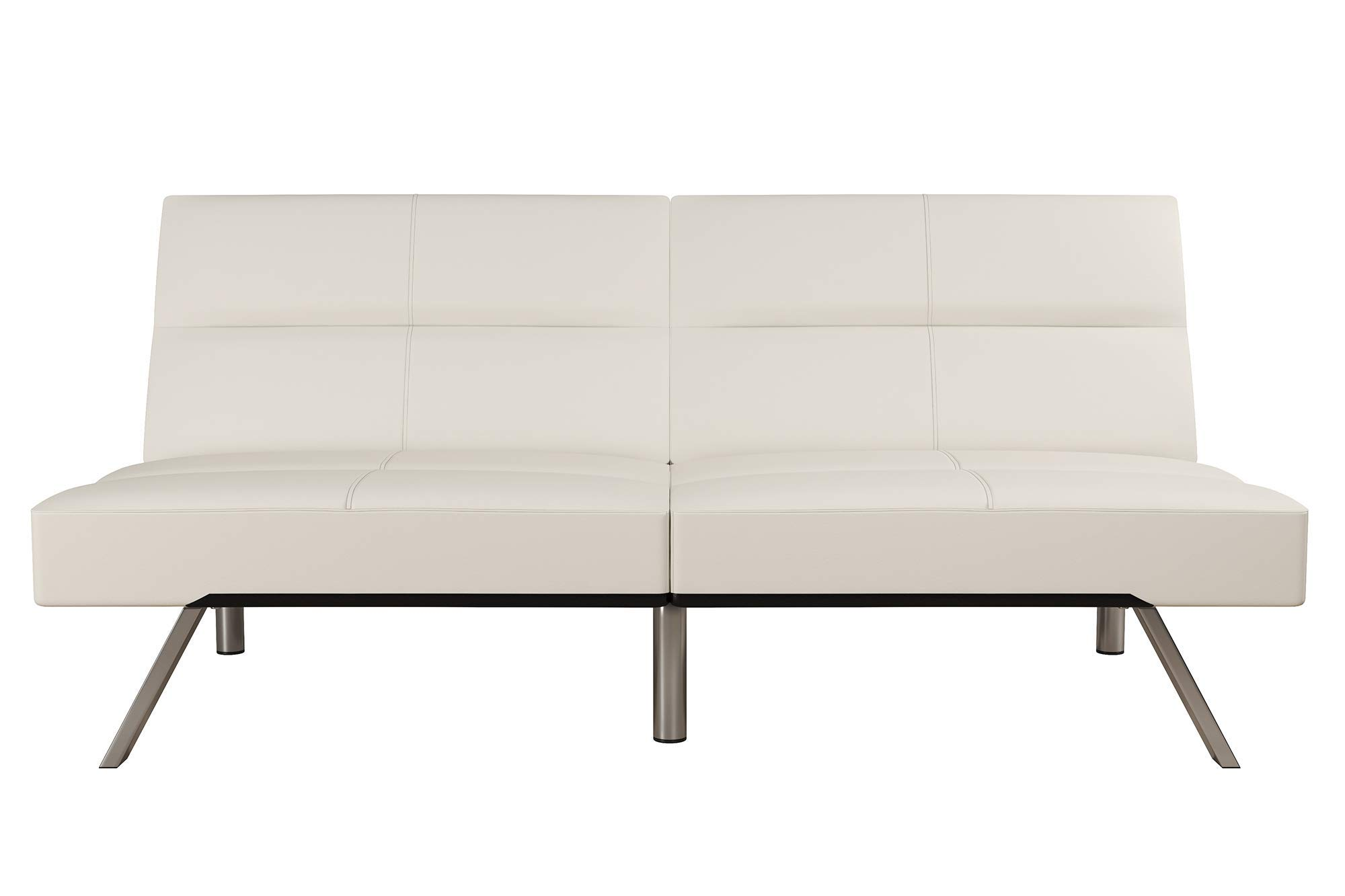 DHP Studio Convertible Futon Couch, Vanilla Faux Leather by DHP