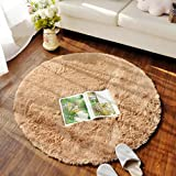 TRUEDAYS Circle Round Shaggy Area Rugs and Carpet Soft Carpet Rug for Chair Bedroom Floor (Light Camel, 100 x 100 cm)