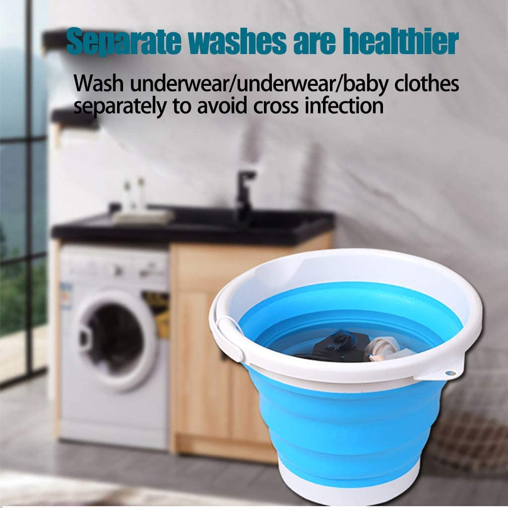 Blue New Portable Mini Turbo Washing Machine with Foldable Tub Compact Ultrasonic Turbine Washer Lightweight Travel Laundry Washer USB Powered Camping Apartments Dorms RV Business Trip