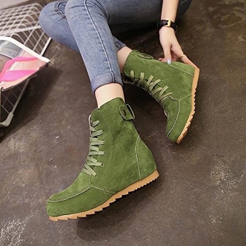 Inkach Womens Winter Boot Shoes Faux Suede Lace-up Short Booties Soft Flat Ankle Riding Boots Green yVvlGTh1