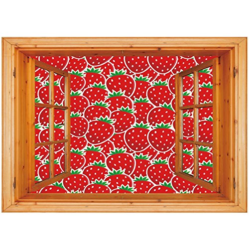 3D Depth Illusion Vinyl Wall Decal Sticker [ Fruits,Strawberry Themed Botany Seeds Yummy Food Organic Growth Diet Health Print Decorative,Red Hunter Green ] Window Frame Style Home Decor Art Removable ()