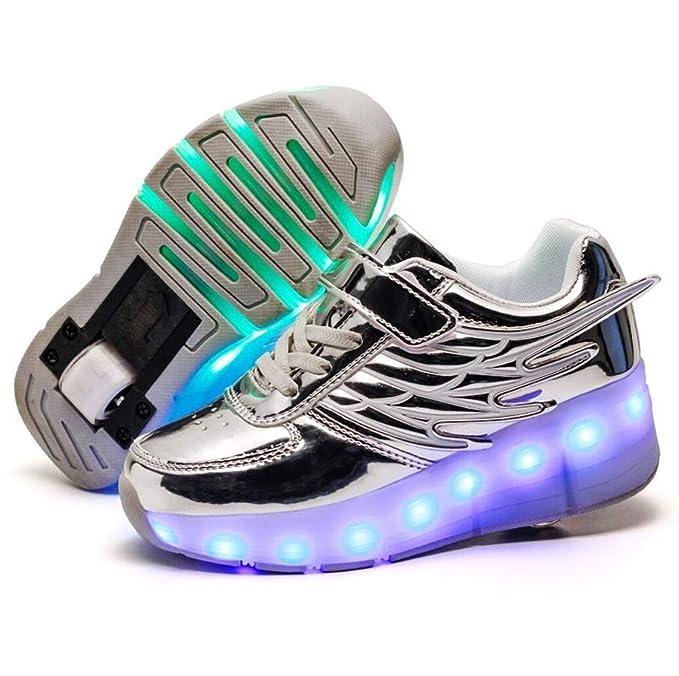 Magic Bambini Singola Shoes Unisex Led Scarpe Skateboard Doppio n0vmOyNwP8