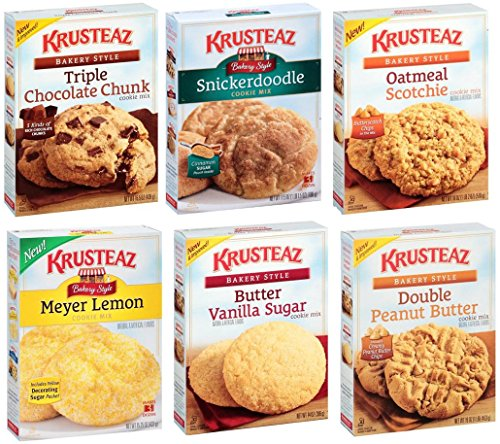 Cookie Mix Krusteaz (Krusteaz Cookie Mix Variety Snack Pack   Bundle of 6 Different Flavors   Triple Chocolate, Snickerdoodle, Peanut Butter, Meyer Lemon, Butter Vanilla, Oatmeal + Travel wipes. Care Package, Gift, 18 oz)