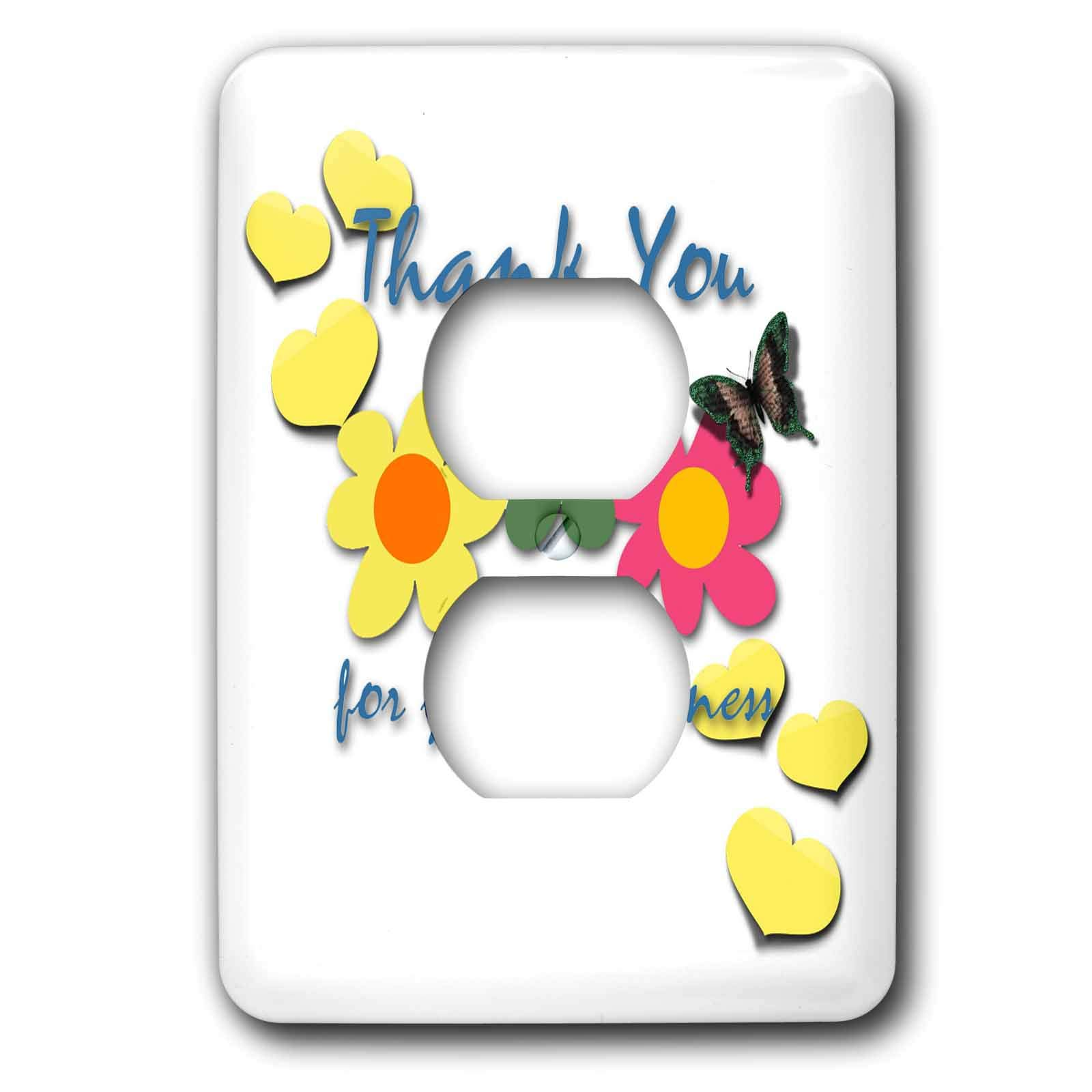 3dRose Spiritual Awakenings Thank You - Flowers and heart petals, and a pretty thank you always works - Light Switch Covers - 2 plug outlet cover (lsp_290274_6) by 3dRose