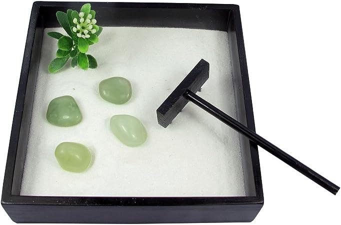 LME jardín Zen - nuevo Jade Tumblestones. Contiene: 1 x bandeja de madera de bambú, arena fina,