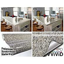 Beige Black Marble Gloss Vinyl Architectural Wrap for Home Office Furniture Wallpaper Tile Sheet 6.5ft x 15.9 Roll (6.5ft x 15.9 1 roll) by VViViD
