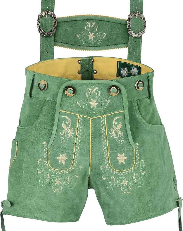 Edle kurze Damen Lederhose mit Träger, Trachtenlederhose Frauen kurz, Damen Trachtenlederhose im Antik Wildleder Echtleder Grün- mit Stickerei und Träger