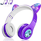 Kids Wireless Bluetooth Headphones, LED Flashing Lights, Music Sharing Function, Long Lasting Battery and 85db Volume Limited
