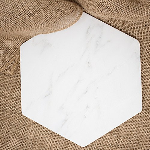 Marbleobject Hexagon 12 inch Italian White Marble Flat Valet tray, Key tray, Jewellery tray, Wallet tray, Desk office tray, Cheese plate or Mousepad