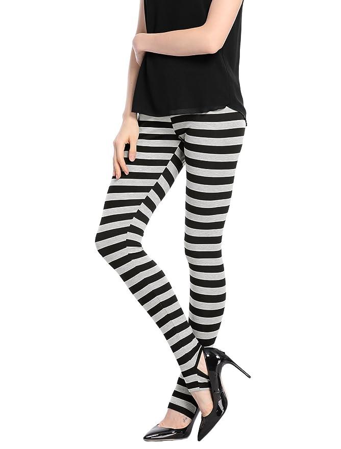d400cd7d83d417 Allegra K Women's Leggings Stripes High Waist Elastic Waistband Stirrup  Pants at Amazon Women's Clothing store: